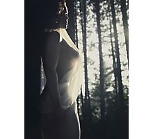 Beautiful artistic nude portrait of a woman in soft sunlight in forest art photo print Photographic Print