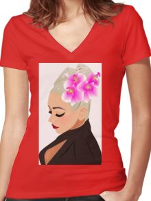 Xtina Illustrated Women's Fitted V-Neck T-Shirt