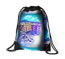 Italian Piazza, Viterbo Aqua Drawstring Bag