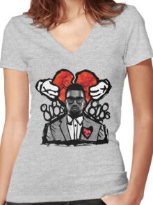 Kanye 808's artistic print Women's Fitted V-Neck T-Shirt
