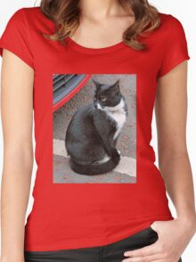 Tuxedo Cat Women's Fitted Scoop T-Shirt