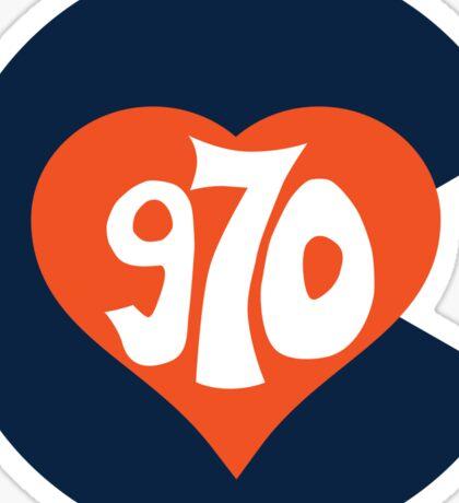 Hand Drawn Colorado Heart Flag 970 Area Code Broncos Sticker