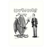 HP Lovecraft and Elder Thing Art Print