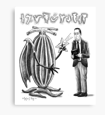 HP Lovecraft and Elder Thing Canvas Print
