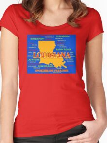Colorful Louisiana State Pride Map Silhouette  Women's Fitted Scoop T-Shirt
