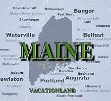 Aged Maine State Pride Map Silhouette  by KWJphotoart
