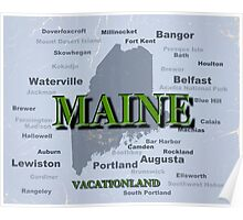 Aged Maine State Pride Map Silhouette  Poster