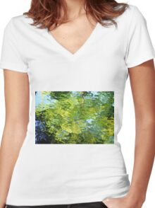 Stained glass Tree Reflection Women's Fitted V-Neck T-Shirt