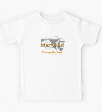 Maryland State Pride Map Silhouette  Kids Tee