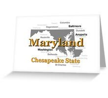 Maryland State Pride Map Silhouette  Greeting Card