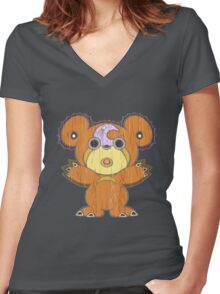 Teddiursa  Tiki Bear Women's Fitted V-Neck T-Shirt