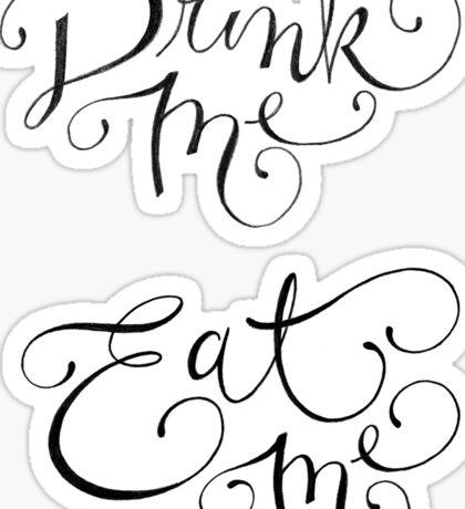 Drink Me, Eat Me Typography on Chalkboard Sticker