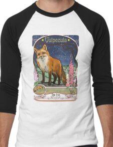 Fox and Foxgloves Constellation Vulpecula Art Nouveau Style Men's Baseball ¾ T-Shirt