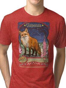 Fox and Foxgloves Constellation Vulpecula Art Nouveau Style Tri-blend T-Shirt