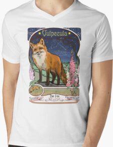Fox and Foxgloves Constellation Vulpecula Art Nouveau Style Mens V-Neck T-Shirt