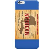 Aged Michigan State Pride Map Silhouette  iPhone Case/Skin