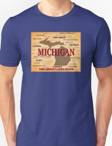 Aged Michigan State Pride Map Silhouette  T-Shirt