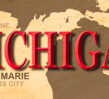 Aged Michigan State Pride Map Silhouette  Sticker