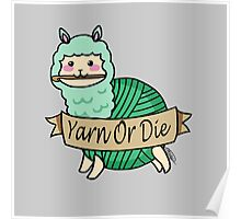 Yarn Alpaca - Yarn Or Die - Green Poster