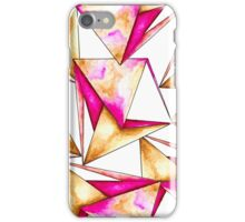 Pink gold yellow watercolor triangles pattern iPhone Case/Skin