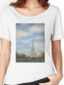 Eifel Tower, oil on canvas Women's Relaxed Fit T-Shirt
