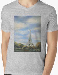 Eifel Tower, oil on canvas Mens V-Neck T-Shirt