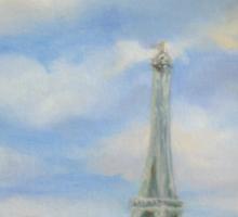 Eifel Tower, oil on canvas Sticker