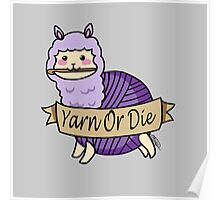 Yarn Alpaca - Yarn Or Die - Purple Poster