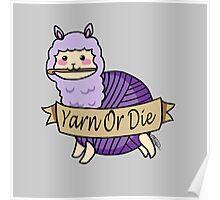 Yarn Alpaca - Yarn Or Die - Purple Poster