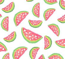 Hand painted modern watercolor hearts watermelon fruits pattern by GirlyTrend