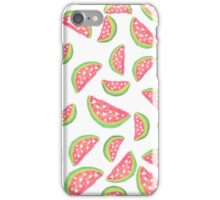 Hand painted modern watercolor hearts watermelon fruits pattern iPhone Case/Skin