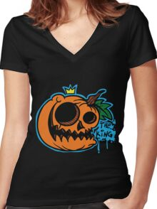 The Pumpkin King Women's Fitted V-Neck T-Shirt