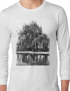 Black and White Weeping Willow Long Sleeve T-Shirt