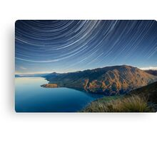 Lake Hawea startrails 1 Canvas Print
