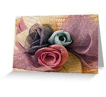 Raffia Roses on Hat  Greeting Card