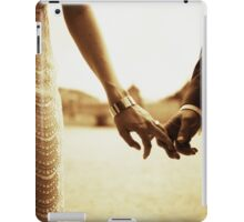 Bride and groom holding hands in sepia - analog 35mm black and white film photo iPad Case/Skin