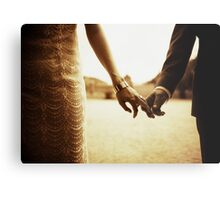 Bride and groom holding hands in sepia - analog 35mm black and white film photo Metal Print
