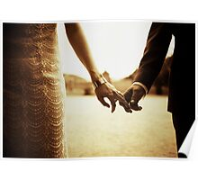 Bride and groom holding hands in sepia - analog 35mm black and white film photo Poster