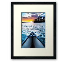 Canoeing in paradise Framed Print