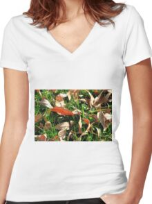 Foliage and Grass Women's Fitted V-Neck T-Shirt