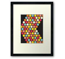 Colorful Hexagons on Black Framed Print