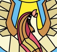 Twitch Plays Pokemon - Bird Jesus and the Helix Fossil Stained Glass Sticker