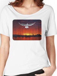 Scarlet Ocean Sunset. Original exclusive photo art. Women's Relaxed Fit T-Shirt