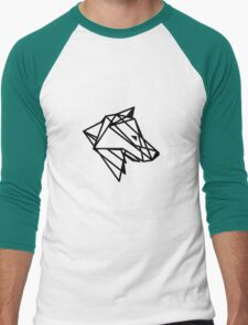 Geometric Wolf Outline Men's Baseball ¾ T-Shirt