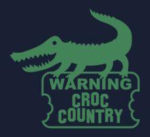 WARNING! Croc Country! with green corocdile! Kids Tee