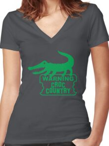 WARNING! Croc Country! with green corocdile! Women's Fitted V-Neck T-Shirt