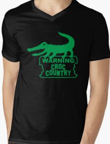 WARNING! Croc Country! with green corocdile! Mens V-Neck T-Shirt