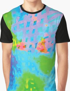 Abstract Blue Green Colorful Water Color Painting Background Graphic T-Shirt