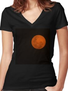 Full Moon - Black Night and Yellow Mystery  Women's Fitted V-Neck T-Shirt