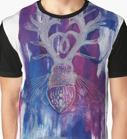 Colourful Silver Dotwork Antler Beetle Inksplash Illustration Graphic T-Shirt